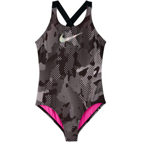 Nike Swim Optic Camo Crossback One Piece Badpak Meisjes, black